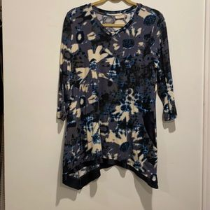 LOGO blue floral medium sleeved shirt w pocket